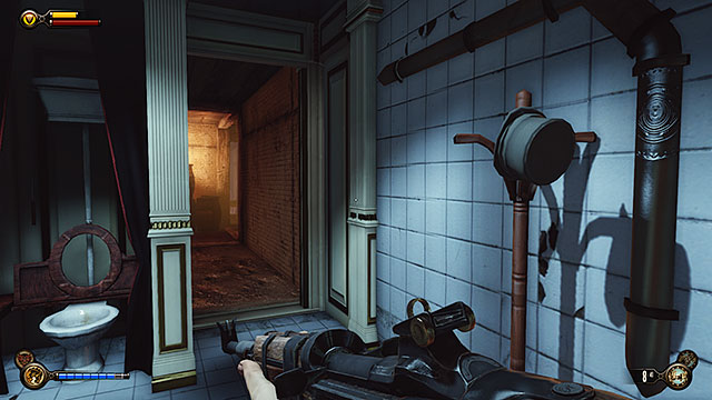 In order to get to the Vox secret room you must go to the other bathroom - Side mission: Use the cipher to crack the Vox code - Chapter 8 - Soldiers Field - BioShock: Infinite - Game Guide and Walkthrough