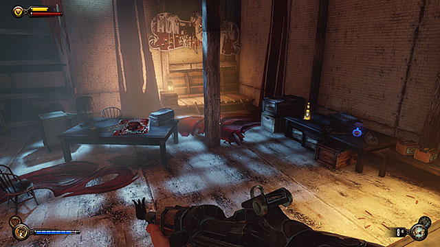 The secret room contains weapons, ammunition, medical supplies and money - Side mission: Use the cipher to crack the Vox code - Chapter 8 - Soldiers Field - BioShock: Infinite - Game Guide and Walkthrough