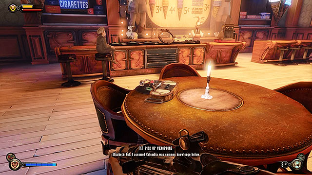 Soldiers Field - inside Duke and Dimwit ice cream store in the upper promenade - Chapter 8 - Voxophones - BioShock: Infinite - Game Guide and Walkthrough