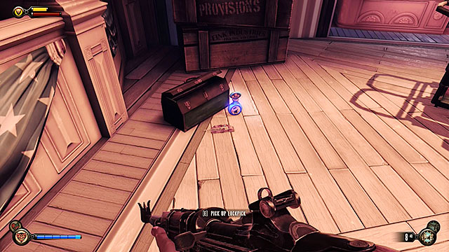 Soldiers Field - on a ground next to a tool box, close to an elevator travelling to Patriots Pride Pavilion - Chapter 8 - Lockpicks - BioShock: Infinite - Game Guide and Walkthrough