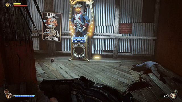 Enter the bar and approach a vending machine located next to a wall - Find Shantytowns police impound - Chapter 21 - Shantytown - BioShock: Infinite - Game Guide and Walkthrough