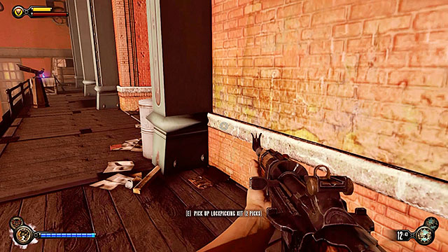 Check the corner near the telescope to find a locksmiths set containing two lockpicks - Find Shantytowns police impound - Chapter 21 - Shantytown - BioShock: Infinite - Game Guide and Walkthrough