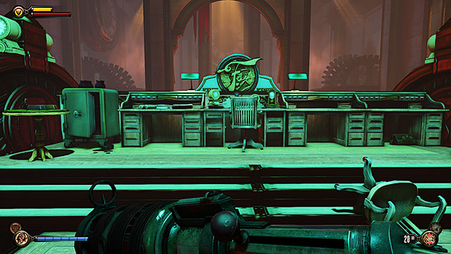 Theres an opened safe behind the desks in the reception - Go to the factory and take back the First Lady airship - Chapter 27 - The Factory - BioShock: Infinite - Game Guide and Walkthrough
