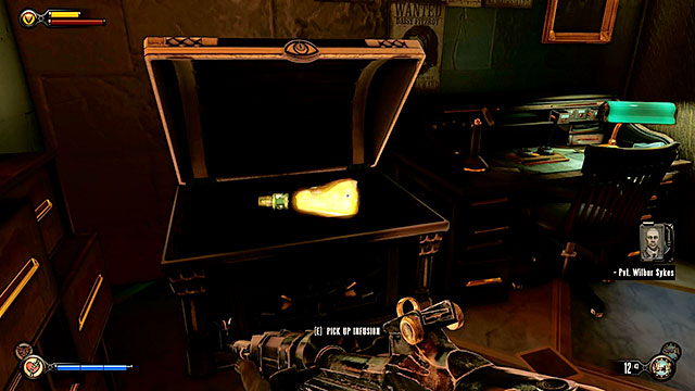 The Bull House - in a chest in an office on the first floor (optional mission) - Chapters 21-26 - Infusions - BioShock: Infinite - Game Guide and Walkthrough