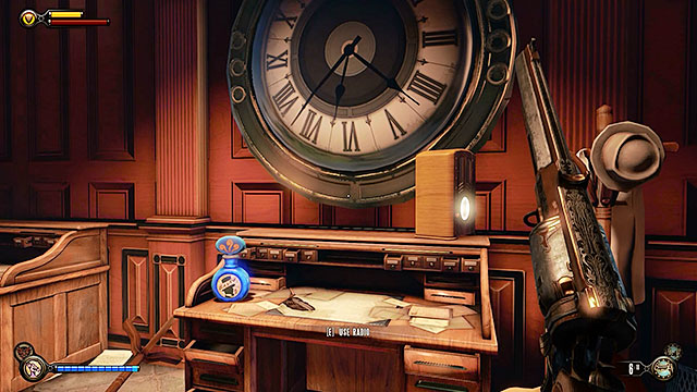 Continue exploring the office, finding a lockpick and some salt on a desk under a large clock - Go to Comstock house - Chapter 29 - Port Prosperity - BioShock: Infinite - Game Guide and Walkthrough