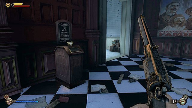 Locate a Vantage point #32 - Kinetoscope between the two toilets - Go to Comstock house - Chapter 29 - Port Prosperity - BioShock: Infinite - Game Guide and Walkthrough
