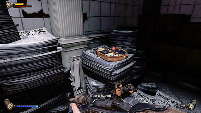 Youll also find a storage area with stacks of newspapers opposite the safe and theres a Voxophone #54 among the papers - Go to Comstock house - Chapter 29 - Port Prosperity - BioShock: Infinite - Game Guide and Walkthrough