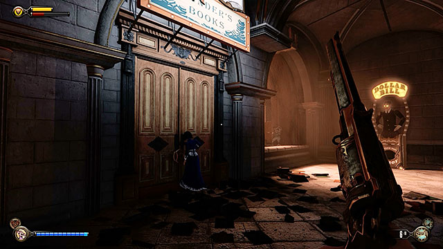 Get rid of the snipers and then approach an entrance to the room located on the left side of the corridor - Go to Comstock house - Chapter 29 - Port Prosperity - BioShock: Infinite - Game Guide and Walkthrough