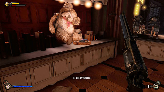 Theres a stuffed bear near the exit and youll find Voxophone #55 in front of it - Go to Comstock house - Chapter 29 - Port Prosperity - BioShock: Infinite - Game Guide and Walkthrough