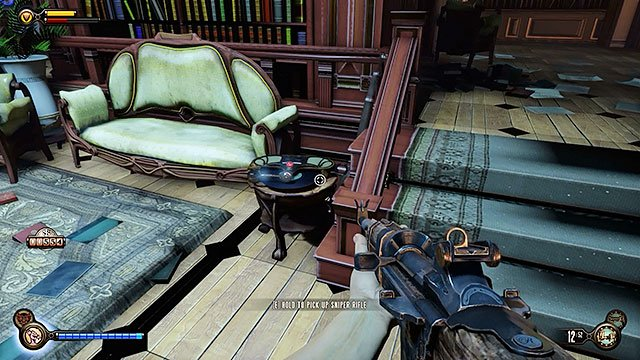 As soon as youve used the stairs leading to the reading room youre going to be attacked by several Vox - Go to Comstock house - Chapter 29 - Port Prosperity - BioShock: Infinite - Game Guide and Walkthrough