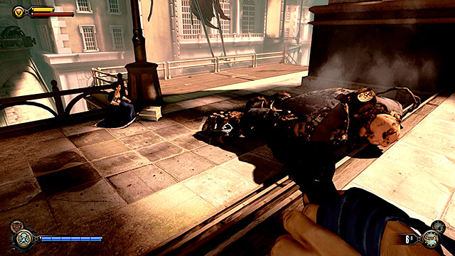 Be careful when using sky-lines after the Handyman has joined the fight, because if youre going to hang on the Sky-Hook for too long he can electrify you - Go to Comstock house - Chapter 30 - Downtown Emporia - BioShock: Infinite - Game Guide and Walkthrough