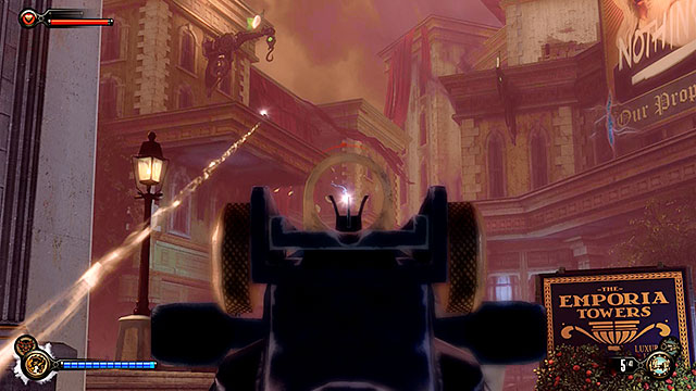 Youre going to be attacked by snipers occupying nearby rooftops after entering the Harmony Lane - Go to Comstock house - Chapter 30 - Downtown Emporia - BioShock: Infinite - Game Guide and Walkthrough