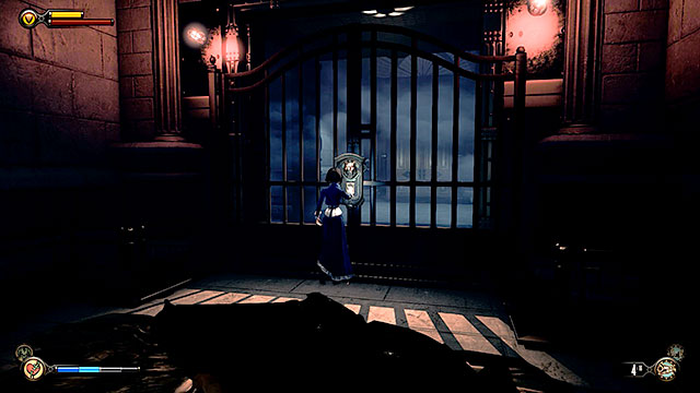 You may now approach the gate of the Comstocks house (point number 1 on the map) and interact with a fingerprint reader - Go to Comstock house - Chapter 30 - Downtown Emporia - BioShock: Infinite - Game Guide and Walkthrough