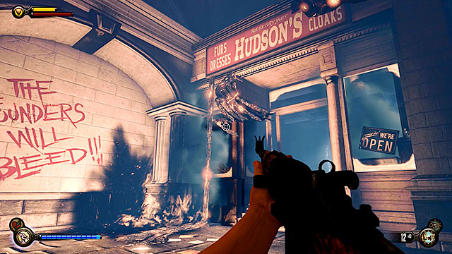 This side quest can be started by visiting Hudsons clothing store (or rather whats left it) - Side mission: Find the Vox code - Chapter 31 - Memorial Gardens - BioShock: Infinite - Game Guide and Walkthrough