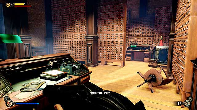 Once Elizabeth has deciphered the code use the typewriter to open a secret passageway located behind a bookshelf - Side mission: Find the Vox code - Chapter 31 - Memorial Gardens - BioShock: Infinite - Game Guide and Walkthrough