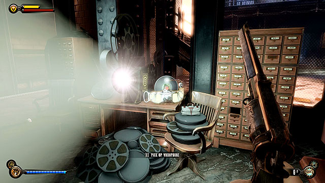 Enter the guards office and locate a projector thats already turned on - Go to wardens office - Chapter 33 - The Atrium - BioShock: Infinite - Game Guide and Walkthrough
