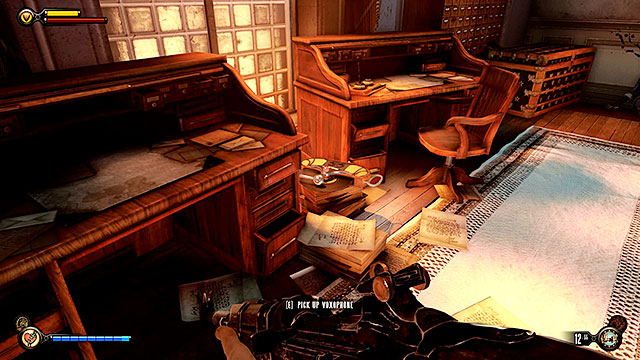 Break into the building mentioned above (the lock requires you to have 3 lockpicks) and check the left room to uncover Voxophone #77 on a stack of documents - Board Prophet Comstocks zeppelin - Chapter 36 - Hand of the Prophet - BioShock: Infinite - Game Guide and Walkthrough