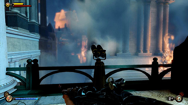 Make sure to unlock a nearby Vantage point #37 - Telescope before entering the barge (this is the last vantage point in the game) - Board Prophet Comstocks zeppelin - Chapter 36 - Hand of the Prophet - BioShock: Infinite - Game Guide and Walkthrough