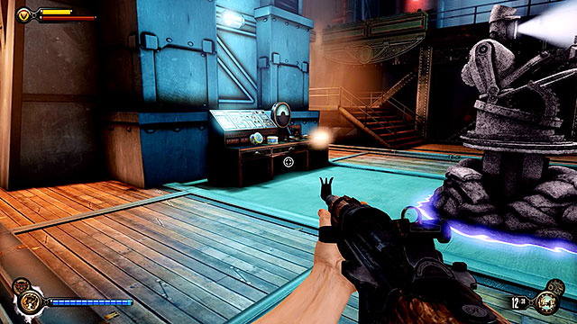 Theres also a locksmiths set on a table, near a tear used to summon a rocket turret - Find a way to the top deck - Chapter 38 - Engineering Deck - BioShock: Infinite - Game Guide and Walkthrough