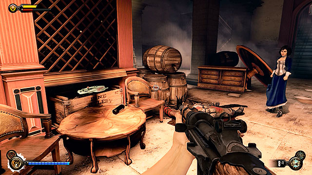 Harmony Lane - inside a cellar of a bar located near the platform - Chapter 30 - Voxophones - BioShock: Infinite - Game Guide and Walkthrough
