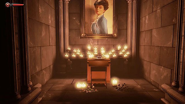 The right niche of the left chapel contains the first Voxophone #1 (this item is needed to unlock the Eavesdropper achievement) - Find a way to the city - Chapter 2 - Welcome Center - BioShock: Infinite - Game Guide and Walkthrough