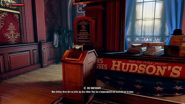 Check the area to the right of the monumental statue of Father Comstock and you should be able to locate Hudsons tailor shop - Find the statue of Columbia - Chapter 2 - Welcome Center - BioShock: Infinite - Game Guide and Walkthrough