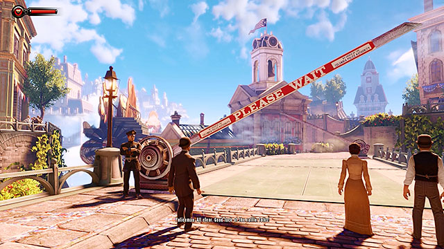 Get back to the streets and proceed towards a parade flying over the city - Find the statue of Columbia - Chapter 2 - Welcome Center - BioShock: Infinite - Game Guide and Walkthrough