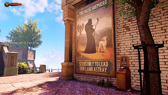 Youll notice a large poster The False Shepherd along the way - Find the statue of Columbia - Chapter 2 - Welcome Center - BioShock: Infinite - Game Guide and Walkthrough