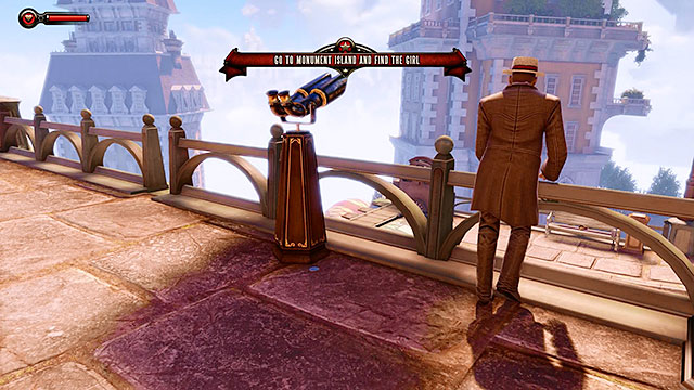 Soon after stepping through a large gate at the end of the street you should receive a rather enigmatic telegram from Lutece - Go to the Monument Island and find the girl - Chapter 2 - Welcome Center - BioShock: Infinite - Game Guide and Walkthrough