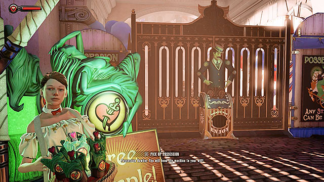Once youre done exploring the fair and interacting with the attractions approach a stand that offers a free sample of a vigor named Possession - Go to the Monument Island and find the girl - Chapter 2 - Welcome Center - BioShock: Infinite - Game Guide and Walkthrough