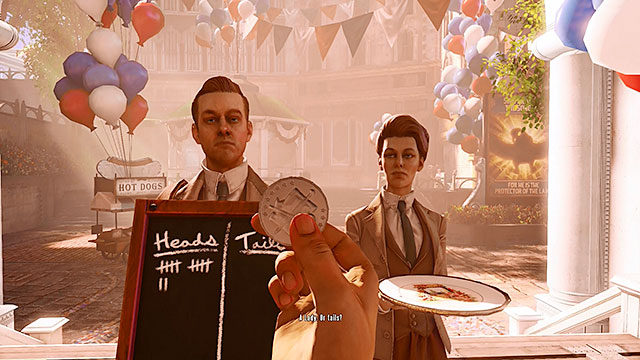 Soon after stepping through the gate youll have a chance for your first face to face meeting with the mysterious Lutece couple - Go to the Monument Island and find the girl - Chapter 2 - Welcome Center - BioShock: Infinite - Game Guide and Walkthrough