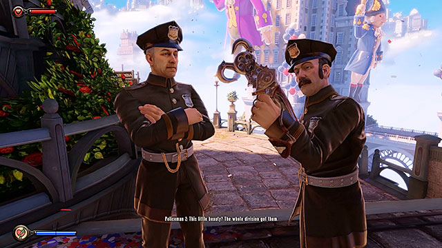 On your way to the lottery youll also encounter two policemen - Go to the Monument Island and find the girl - Chapter 2 - Welcome Center - BioShock: Infinite - Game Guide and Walkthrough