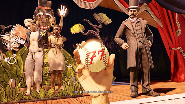 During the lottery the main character will draw a ball with the winning number (the same one as from the warning from the telegram) - Important choice: first throw - Chapter 3 - Raffle Square - BioShock: Infinite - Game Guide and Walkthrough