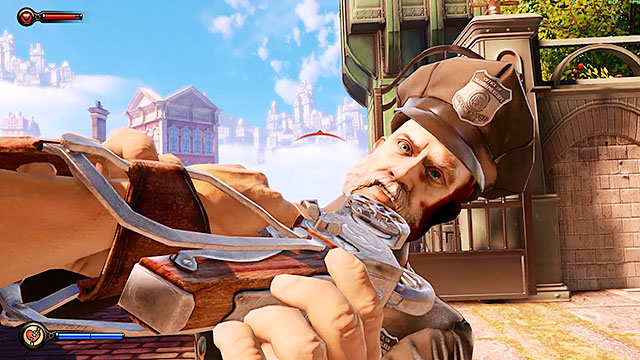 As youve probably noticed during the events that took place in the lottery area youve obtained your first weapon - a Sky-Hook - Fight your way to Monument Island - Chapter 3 - Raffle Square - BioShock: Infinite - Game Guide and Walkthrough