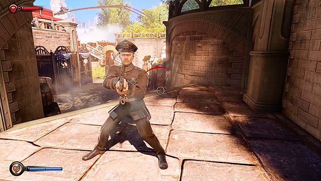 During the battle one of the killed policemen will drop a Pistol - Fight your way to Monument Island - Chapter 3 - Raffle Square - BioShock: Infinite - Game Guide and Walkthrough