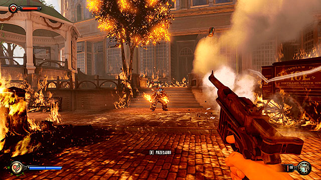 Immediately after stepping through the gate youre going to be attacked by a Fireman and hell be using a Devils Kiss vigor during this duel - Fight your way to Monument Island - Chapter 3 - Raffle Square - BioShock: Infinite - Game Guide and Walkthrough