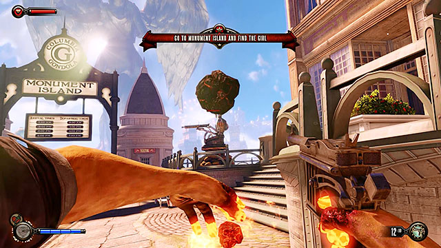 Proceed to the end of the street and expect to come across new policemen here, as well as a single turret - Fight your way to Monument Island - Chapter 3 - Raffle Square - BioShock: Infinite - Game Guide and Walkthrough