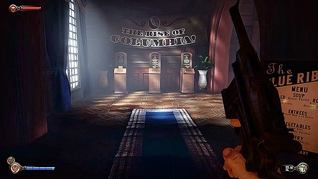 As soon as youve entered the The Blue Ribbon Restaurant you should turn around - Go to the Monument Island and find the girl (part 1) - Chapter 4 - Comstock Center Rooftops - BioShock: Infinite - Game Guide and Walkthrough