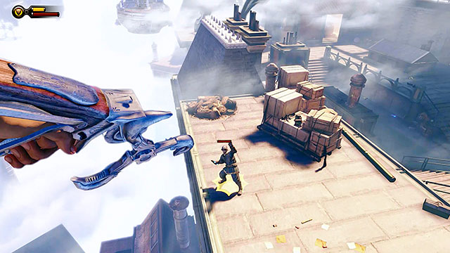 Continue using the Sky-Hook to connect to nearby hooks until you get to the last one - Go to the Monument Island and find the girl (part 1) - Chapter 4 - Comstock Center Rooftops - BioShock: Infinite - Game Guide and Walkthrough