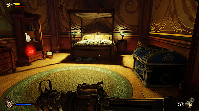 The first floor of the residence contains a bedroom - Go to the Monument Island and find the girl (part 1) - Chapter 4 - Comstock Center Rooftops - BioShock: Infinite - Game Guide and Walkthrough