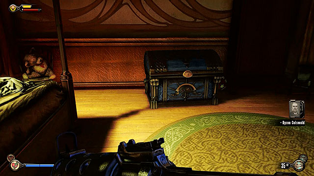 While exploring the Lansdowne Residence youll find a locked chest in one of the bedrooms - Side mission: Find the key that fits the lock - Chapter 4 - Comstock Center Rooftops - BioShock: Infinite - Game Guide and Walkthrough