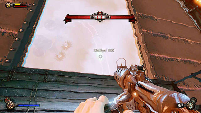 Immediately proceed towards the back of the zeppelin and leave it by jumping through a hole in the cargo bay - Board Prophet Comstocks zeppelin - Chapter 5 - Monument Island Gateway - BioShock: Infinite - Game Guide and Walkthrough