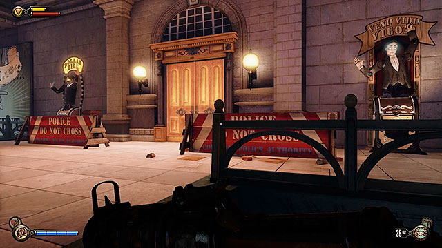 There are two vending machines near the exit from this unguarded station and you can also find a machine gun, ammunition and medkits behind one of the police barriers - Board Prophet Comstocks zeppelin - Chapter 5 - Monument Island Gateway - BioShock: Infinite - Game Guide and Walkthrough