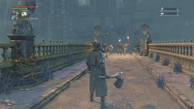 If you will exit the sewers you will see that the bridge is guarded by a group of enemies. You need to also watch out for the burning ball. - Central Yharnam - Sewers - Walkthrough - Bloodborne - Game Guide and Walkthrough