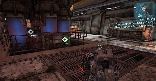 As the ladder falls down, return to your vehicle and drive to Pump Station 1 [3] - Data Mining - Main missions - Borderlands 2 - Game Guide and Walkthrough