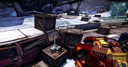 In the same area [3], behind the radio right behind the car wreck in which you found the last number there's another warehouse - The Cold Shoulder - Sanctuary part 2 - Borderlands 2 - Game Guide and Walkthrough