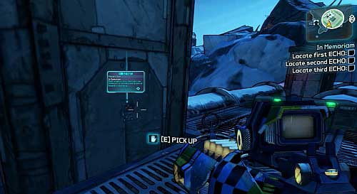 Once you're above, turn right and on the pillar you will find an ECHO Recorder - In Memoriam - Sanctuary - Borderlands 2 - Game Guide and Walkthrough