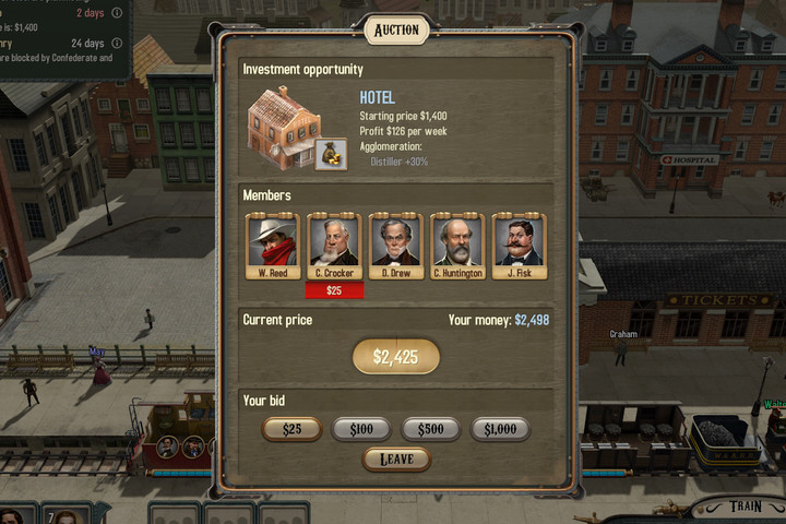 A hotels auction - Banks and auctions | Hints - Hints - Bounty Train Game Guide