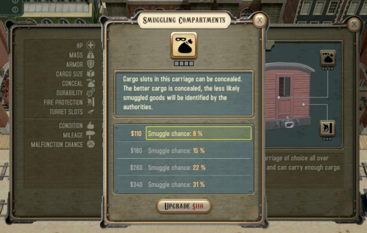Carriage upgrades with smuggling compartments - Smuggling | Transportation - Transportation - Bounty Train Game Guide