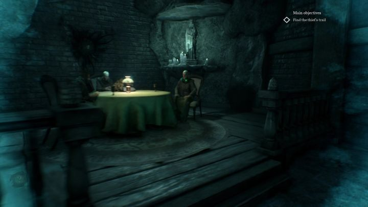 At the end of the reconstruction, you must examine the man sitting at the table. - Chapter 4 - Tunnels under the Hawkins mansion | Call of Cthulhu Walkthrough - Walkthrough - Call of Cthulhu Guide